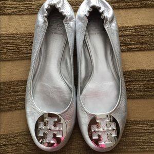 Tory Burch Ballet Flats Silver Metallic Sz 9 1/2